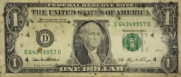 Mycket gammal sjaskig dollar, bakgrundsisolat Royaltyfria Bilder