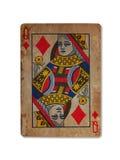 Mycket gammalt spela kort, drottning av diamanter Arkivbild