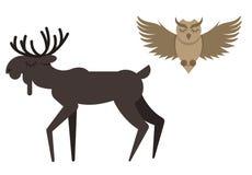 Mycket gulligt djur som dras i plan stil royaltyfri illustrationer