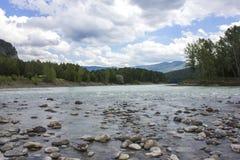 Mycket härlig bergflod Katun 40 grader glaserar mer russia ruskiga siberia än Royaltyfria Bilder