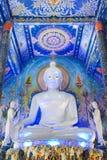 Mycket härlig buddha bild i kapellet av Wat Rong Sua Ten eller Royaltyfria Foton