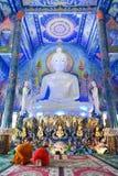 Mycket härlig buddha bild i kapellet av Wat Rong Sua Ten eller Fotografering för Bildbyråer