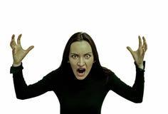 Mycket ilsken kvinna som skriker i fasa, grimasstående Negativ mänsklig sinnesrörelse Arkivbild