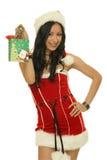 Mycket lilla lyckliga gåvor för Santa flicka Arkivfoto