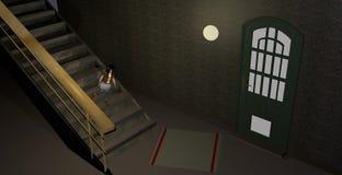 Mycket liten flicka som går ner enorm trappa Royaltyfria Foton