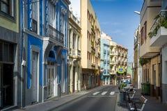 Mycket liten gata av La Orotava den gamla staden, Tenerife ö Arkivbild