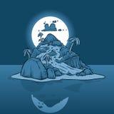 Mycket liten ö på natten Royaltyfri Bild