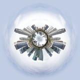 Mycket liten planet med skyskrapor Arkivfoto