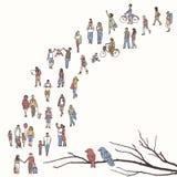 Mycket litet folk som går i en kö stock illustrationer