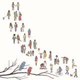 Mycket litet folk som går i en kö royaltyfri illustrationer