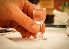 Mycket litet likörexponeringsglas i hand Royaltyfri Foto