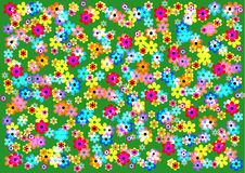 mycket ljus och glad bakgrund av färgrika blommor Royaltyfria Bilder