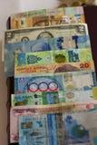 Mycket pappers- räkningar av olika länder som lokaliseras på det numismatiska albumet royaltyfri fotografi