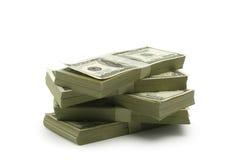 Mycket pengar på en vit bakgrund Royaltyfria Foton