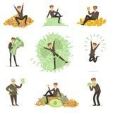 Mycket Rich Man Bathing In His pengar, lycklig serie för manligt tecken för miljonärmagnat av illustrationer stock illustrationer