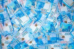 Mycket rysspengarsedlar av rubel, bakgrund royaltyfri bild