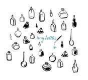 Mycket små flaskor Fotografering för Bildbyråer