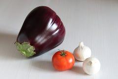 Mycket stor aubergine, tomat och lök Arkivfoton