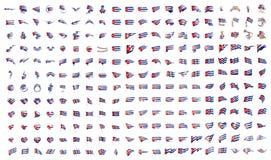 Mycket stor samling av vektorflaggor av Kuban vektor illustrationer
