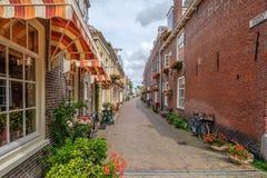 Mycket trevlig gammal gränd med blommor i det gamla centret av delftfajans, Nederländerna royaltyfria bilder