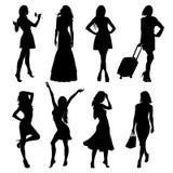 Mycket vektorsvartkonturer av härliga kvinnor på vit bakgrund vektor illustrationer