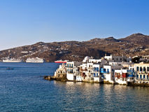 Myconos, Greece and Cruise ships. Alefkantra, Myconos city, Greece and cruise ships stock image