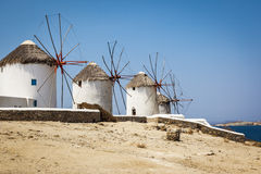 Myconos wind mill Stock Photos