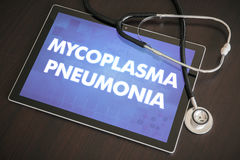 Mycoplasma pneumonia (infectious disease) diagnosis medical. Concept on tablet screen with stethoscope stock image