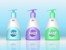 Mydło butelki Ustawiać z powlekaczką produktu kosmetycznego, Zdjęcia Royalty Free