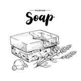 mydło naturalny mydło Wektorowa ręka rysująca ilustracja organicznie kosmetyk z lawendowymi medycznymi kwiatami royalty ilustracja