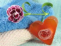 mydło serce kształtujący mydło Fotografia Stock