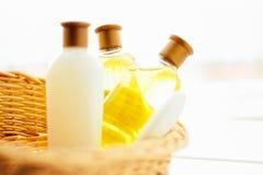 mydło, szampon, płukanka kosmetyk ustawiający - piękna, zdroju i ciała opieka, projektował pojęcie obraz stock