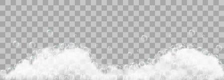 Mydlana piana i bąble na przejrzystym tle ilustracji