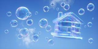 Mydlani bąble przeciw niebieskiemu niebu - 3D ilustracja royalty ilustracja