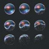 Mydlany bąbel wybucha Realistyczny wodny sfera wybuch, przejrzyści błękitni odbicia odizolowywająca mydło piana szybko się zwięks ilustracji