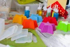 Mydlany robić proces robić mydłu, tekstura obrazy royalty free