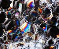 Mydlanych bąbli abstrakcjonistyczna kolorowa makro- struktura Obraz Stock