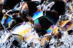 Mydlanych bąbli abstrakcjonistyczna kolorowa makro- struktura Zdjęcia Stock