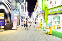 Myeong-dong fashions district at night, Seoul Royalty Free Stock Photography