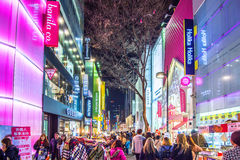 Myeong-Dong Market is large shopping street in Seoul. Royalty Free Stock Photo