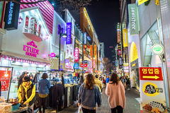 Myeong-Dong Market is large shopping street in Seoul. Stock Images
