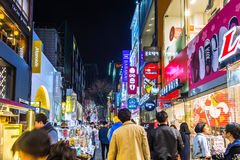 Myeong-Dong Market is large shopping street in Seoul. Royalty Free Stock Photography