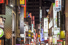 Myeong-Dong Neon Lights in Seoul Stock Image