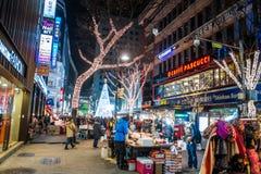Myeong-dong, SEOEL, ZUID-KOREA Stock Afbeelding