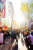 Myeongdong Backlit Robiący zakupy ulicę Prowiantowy Seul V zdjęcie royalty free
