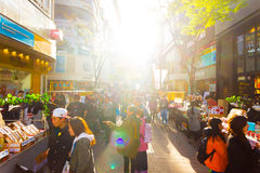 Myeongdong Backlit Shopping Street Stores Seoul H Royalty Free Stock Photos