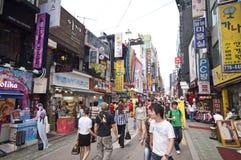 Myeongdong Bezirk in Seoul Stockbild