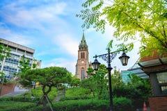 Myeongdong Cathedral on Jun 18, 2017 in Seoul city, South Korea. Landmark Stock Photo