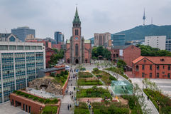 Myeongdong Cathedral. Is a prominent Roman Catholic church in the Myeongdong district of Seoul, South Korea, and the seat of the Archbishop of Seoul Stock Photo