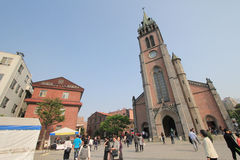 Myeongdong Cathedral. Is a prominent Roman Catholic church in the Myeongdong district of Seoul, South Korea, and the seat of the Archbishop of Seoul Stock Image